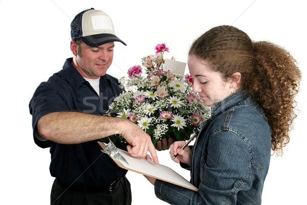 Girl Signing For Flowers Stock photo © lisafx