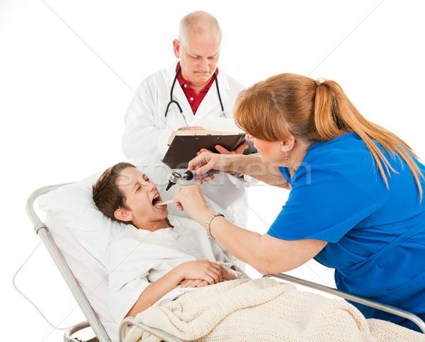 Pédiatrie malheureux patient peu garçon comme Photo stock © lisafx