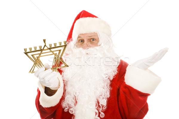 Santa Confused by Menorah Stock photo © lisafx