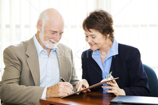 Stock photo: Senior Businessman Signature