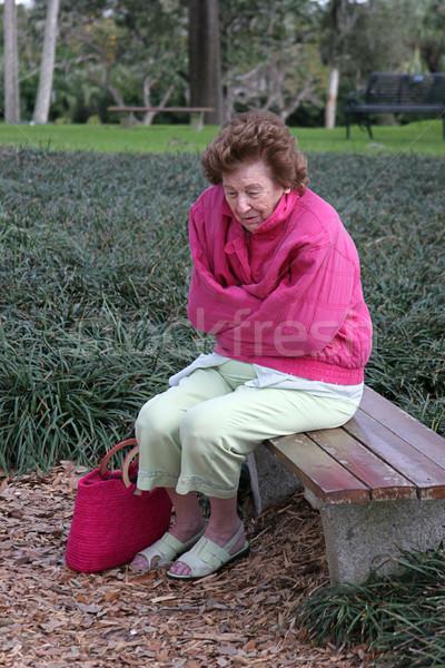 Senior vrouw koud triest park Stockfoto © lisafx