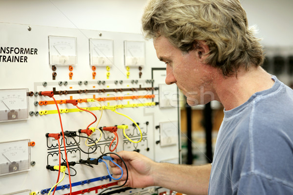Transformatör tahta elektronik elektrikçi eğitim Stok fotoğraf © lisafx