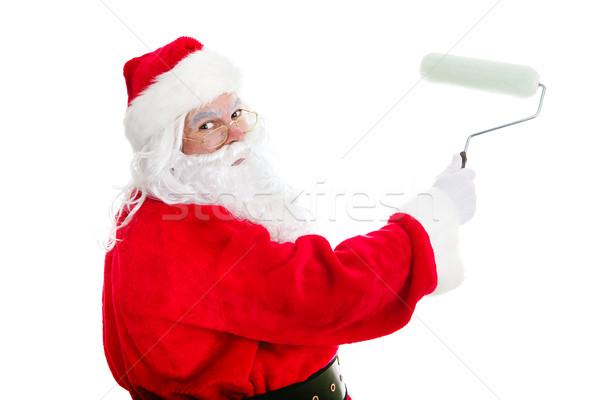 Majsterkowanie Święty mikołaj Święty mikołaj farby pracy Zdjęcia stock © lisafx