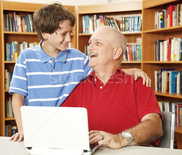 Vader zoon genegenheid genieten kwaliteit tijd samen Stockfoto © lisafx