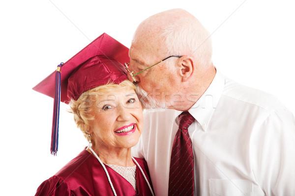 Pareja de ancianos beso posgrado altos mujer universidad Foto stock © lisafx