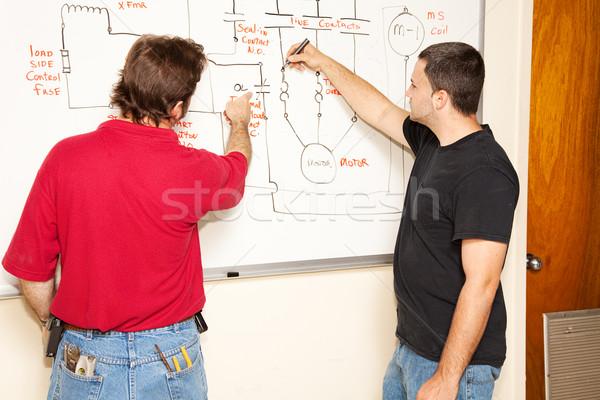 L'educazione degli adulti ingegneria elettriche studente diagramma circuito Foto d'archivio © lisafx