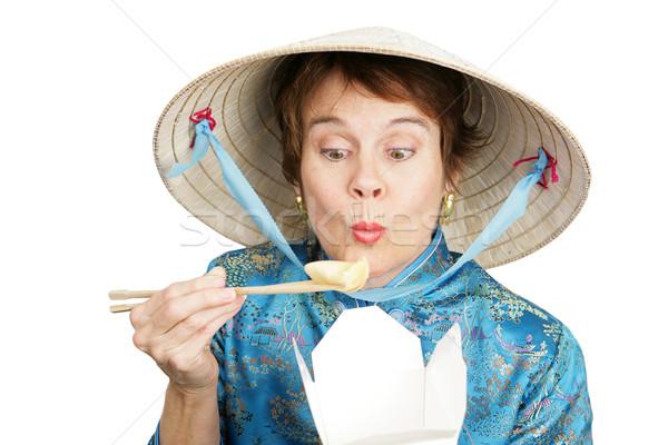Turistica cinese abbigliamento mangiare contenitore Foto d'archivio © lisafx
