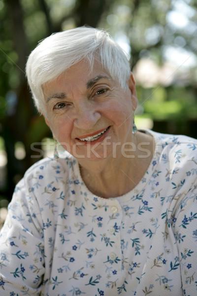 Nagymama kint édes idős kívül park Stock fotó © lisafx