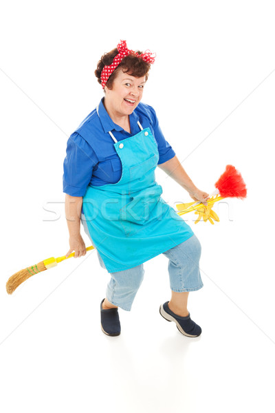 Housekeeper Riding Broom Stock photo © lisafx