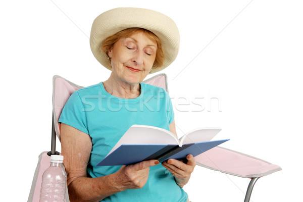Foto stock: Verão · senior · leitura · bastante · senhora