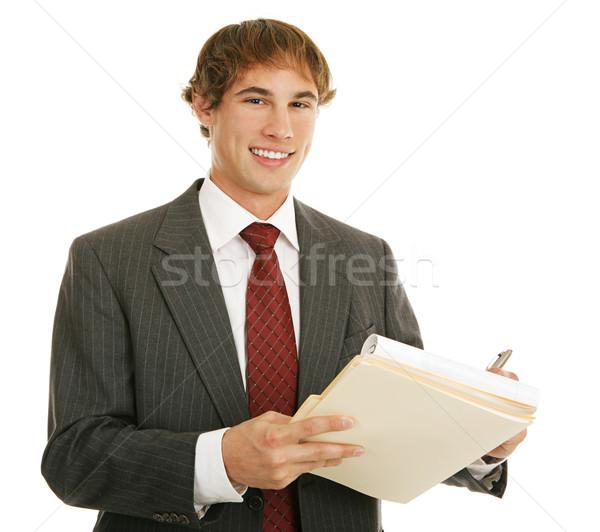 Fiatal üzletember munka jóképű jegyzetel izolált Stock fotó © lisafx