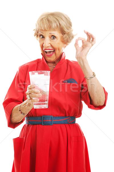 Eau ok supérieurs femme verre Photo stock © lisafx