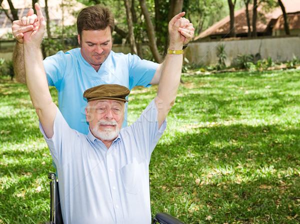 Moeilijk fysiotherapie senior man niet genieten Stockfoto © lisafx