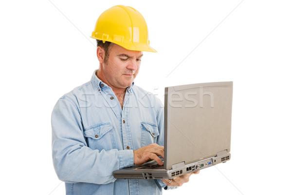 Foto stock: Ingeniero · usando · la · computadora · portátil · construcción · ordenador · Trabajo · aislado