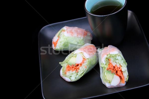 Saláta zsemle fekete rák Seattle tea Stock fotó © lisafx