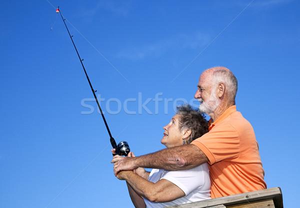 Seniors Fishing - Casting Lesson Stock photo © lisafx