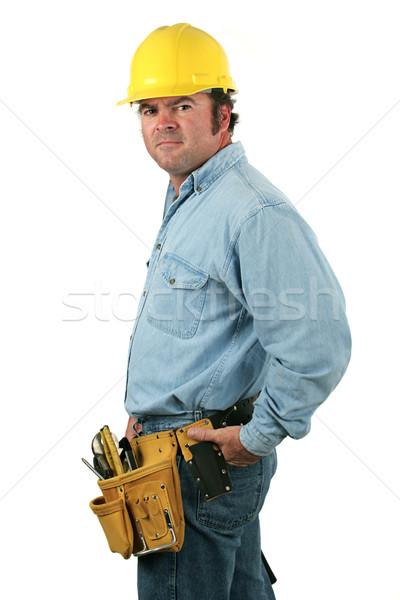 Foto stock: Herramienta · hombre · vista · lateral · guapo · trabajador · de · la · construcción · sexy