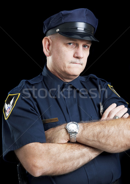 Policeman on Black - Arms Folded Stock photo © lisafx