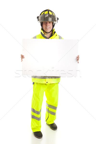 Fireman Holding Sign - Full Body Stock photo © lisafx