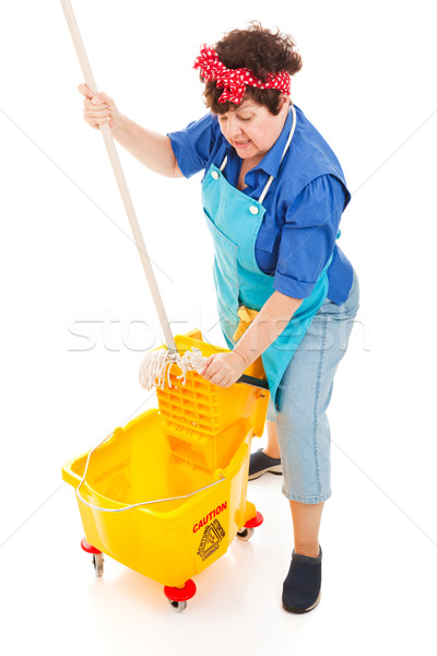 Cleaning Lady Wrings Mop Stock photo © lisafx