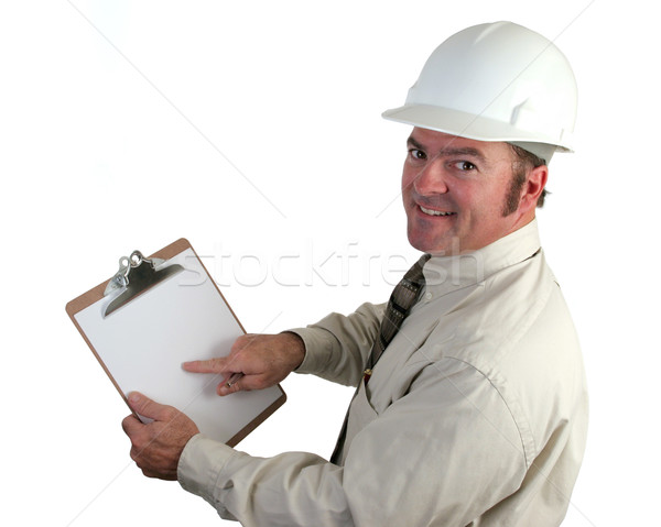 строительство руководитель счастливым указывая из хорошие Сток-фото © lisafx