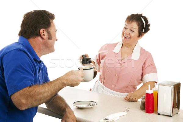 Diner garçonete cliente xícara de café isolado branco Foto stock © lisafx