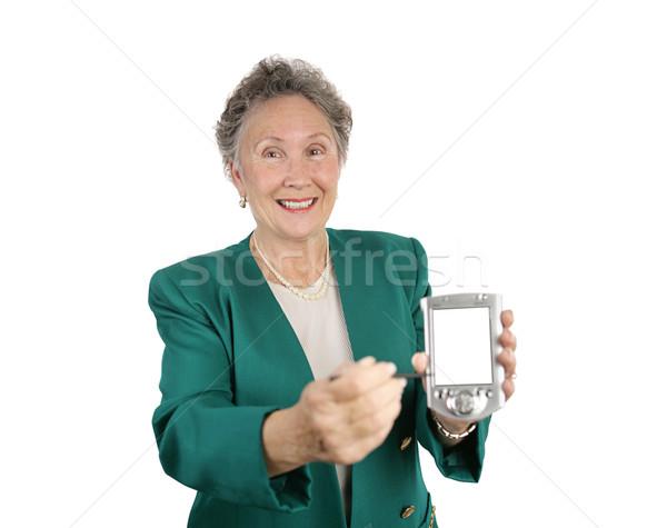 Boldog üzenet pda idős üzletasszony kép Stock fotó © lisafx
