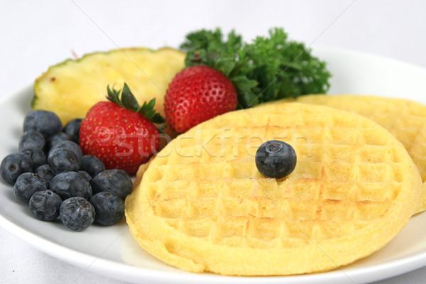 Waffles & Fruit Closeup Stock photo © lisafx