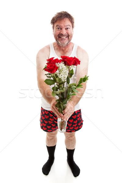 Funny Romantic Guy - Full Body Isolated Stock photo © lisafx