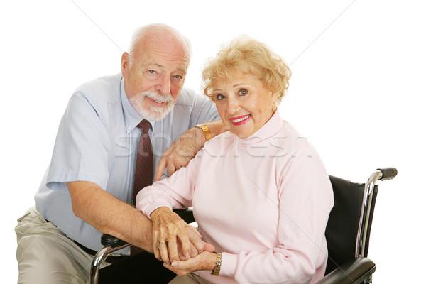 Disabilità attrattivo moglie sedia a rotelle isolato Foto d'archivio © lisafx