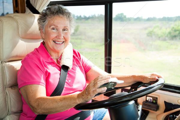 Senior vrouw gps rijden motor home Stockfoto © lisafx