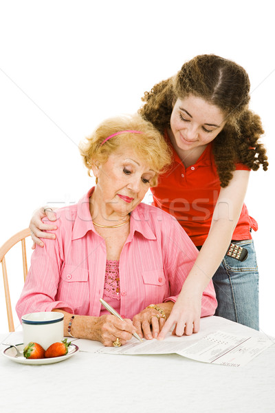 Stock photo: Voting - Helping Grandma with Paperwork