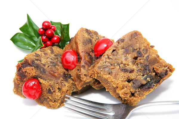 Szeletel karácsony gyümölcstorta szeletek izolált fehér Stock fotó © lisafx