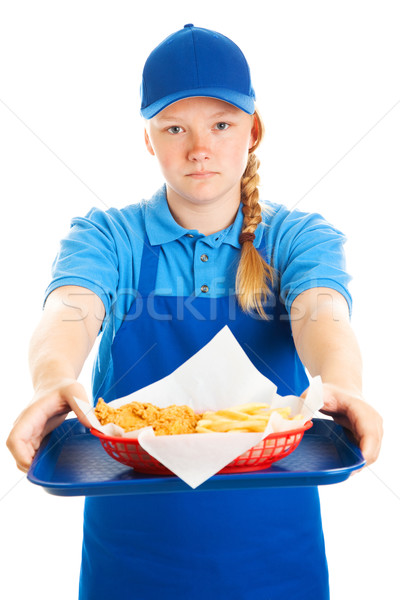 Teen girl Fast-Food ernst Servieren Essen Stock foto © lisafx