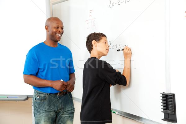 Matematik öğretmen öğrenci yardım yazı Stok fotoğraf © lisafx