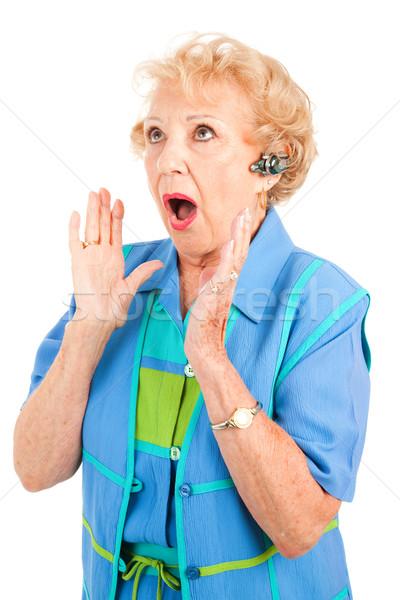 Cellphone Senior Woman - Shocking News Stock photo © lisafx