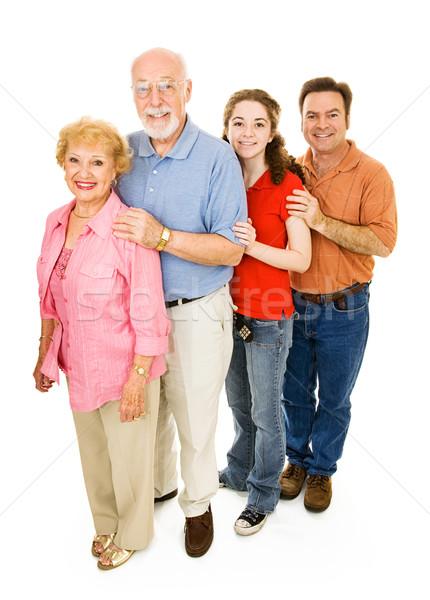 Gelukkig uitgebreide familie grootouders vader tienermeisje Stockfoto © lisafx