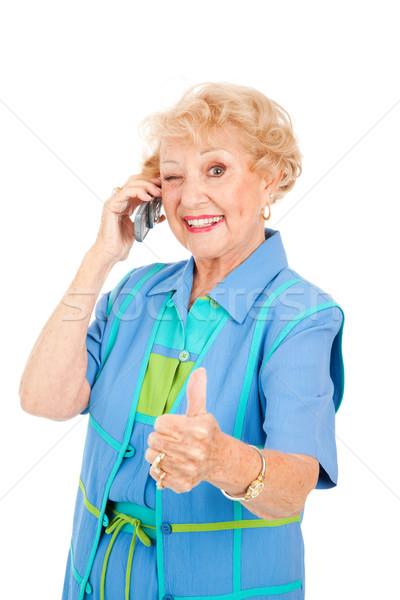 Starszy użytkownik dobre recepcji kobieta Zdjęcia stock © lisafx