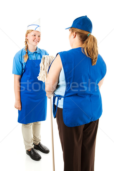Cheerful Teen Worker with Boss Stock photo © lisafx