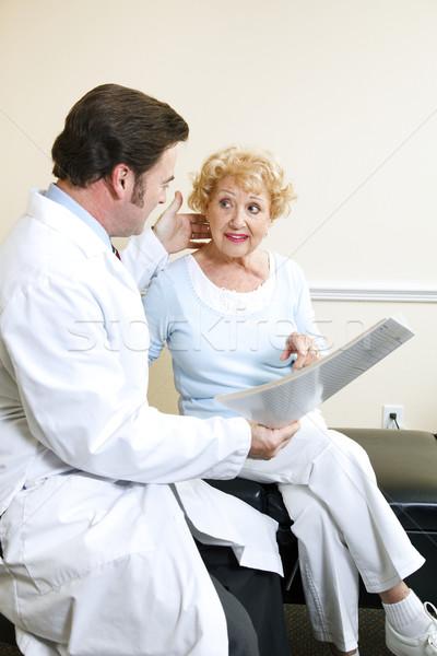 Doktor hasta yaşlı boyun kadın Stok fotoğraf © lisafx