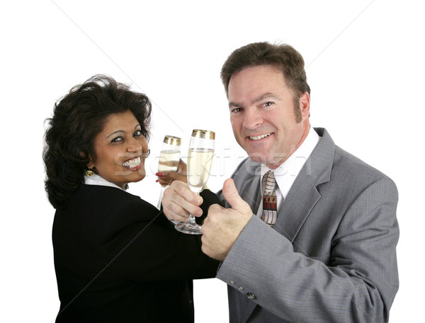 Champagne Couple Thumbsup Stock photo © lisafx