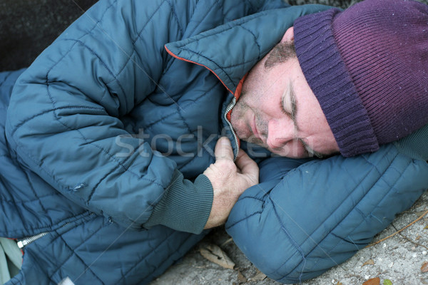 Homeless Man - Sleeping Closeup Stock photo © lisafx