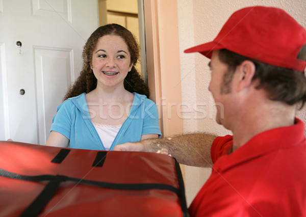 Receiving Pizza Delivery Stock photo © lisafx