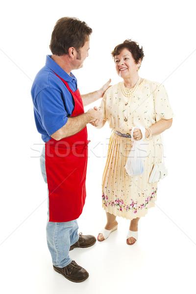Sprzedawca szczęśliwy klienta ręce odizolowany biały Zdjęcia stock © lisafx