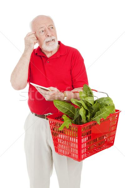 Idős vásárló feledékeny férfi vásárlás élelmiszer Stock fotó © lisafx