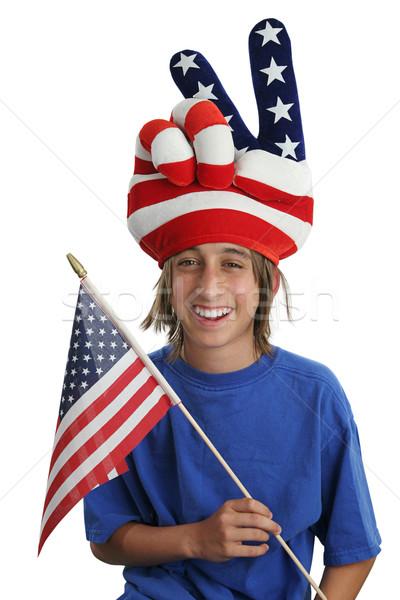 USA hazafi fiú hazafias mutat szeretet Stock fotó © lisafx