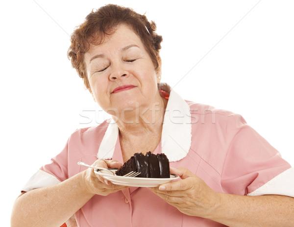 Waitress Loves Chocolate Cake Stock photo © lisafx