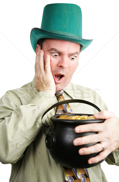Leprechaun Excited by Pot of Gold Stock photo © lisafx