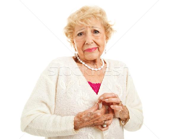 Nehézség gombok idős nő gond pulóver Stock fotó © lisafx