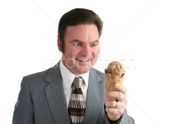 Businessman Crazy For Ice Cream Stock photo © lisafx